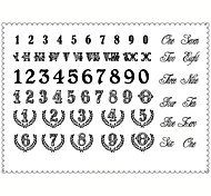 5PCS Fashion Number Body Art Waterproof Temporary Tattoos Sexy Tattoo Stickers (Size: 3.74'' by 5.71'')