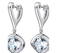 Lady's Clear Zircon Drop Earrings
