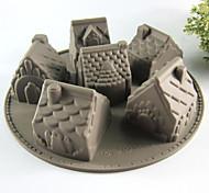 Creative Kitchen Gadget / Melhor qualidade / Alta qualidade Silicone Cake Molds 6 Even House A Microwave Oven Tool Silicone 26*26*6.3