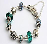 Antique Silver Green Beads Strand Bracelet