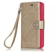Body collant portefeuille / Support de Carte / Miroir / Retourner / Motif Fleur Cuir PU Dur Multi-function Card Couverture de cas pour