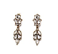 European Luxury Gem Geometric Earrrings Vintage Leaf Drop Earrings for Women Fashion Jewelry Best Gift