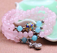 Pink Natural Crystal Bag Pendant Strand Bracelet