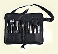PU Makeup Brush Pocket Folding Bag Full Leather Zipper Handmade