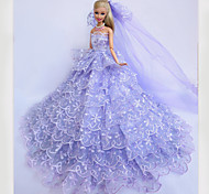 Barbie Doll Purple Crystal Wedding Dress with A Long Veil