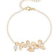 Cadenas y esclavas 1 pieza,Dorado / Plateado Pulseras y Brazaletes De Moda / Adorable Forma de Flor Joyas Legierung Joyería
