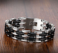 Stainless Steel Silicone Men Fashion Bracelet Multi-layer Design Vintage Casual Chain Bracelets  Men Accessories