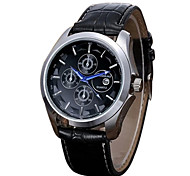 Men's Dress Watch Quartz Calendar Leather Band Black Brand