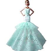 luce bambola barbie partito da sera verde fiori vestito del vento