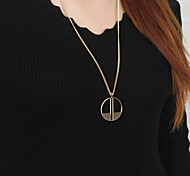 Women Simple Arts Alloy Round Pendant Sweater Chain Long Necklace  1pc