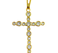 Gold Plated Copper Cross Necklace (Glasses-inlaid)