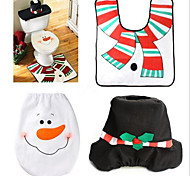 Hot Spot Christmas Snowman Toilet Mat Set Tank Cover Towel Sets Christmas Gifts