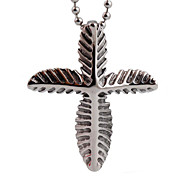 Retro Personality Leaves Cross Necklace Pendant Pendant Titanium Male