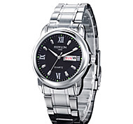 Men's Dress Watch Calendar Casual Watch Quartz Stainless Steel Band Silver