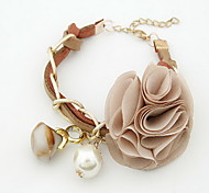 Fabric Flower Shape Charm Bracelet