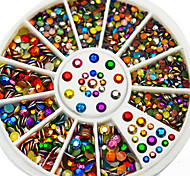 2mm Mix 3mm Octangular Rhinestone Colorful Nail Art Stick Palettee