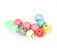 Beadia 40Pcs Mixed Colors Acrylic Beads 14mm Round Smiling Face Plastic Spacer Beads (1.5mm Hole)