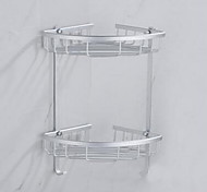 Stainless Steel Bilayer Tripod Space Aluminum Shelf for Bathroom
