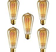 5pcs HRY® ST64 E27 40W Incandescent Vintage Edison Light Bulb For Restaurant Club Coffee Bars Light(220-240V)