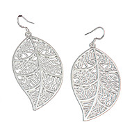 Women's Fashion Simple Leaf Shape Silver Drop Earrings