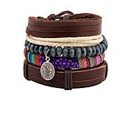 4pcs /set Brown Fabric Layered Leather Strand Bracelet