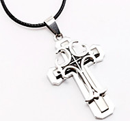 Angel Wings Cross Pendant Double Titanium Silver