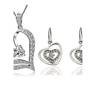 Women's Super Flash Zircon Heart Shape Earrings Necklace Set