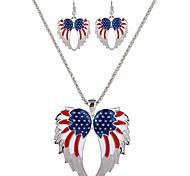moda sistemas de la joyería diaria ocasional de la personalidad del partido de la aleación de alas de ángel pendientes collar para las