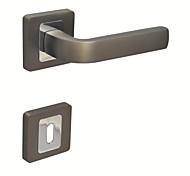 Door Lever Handleset Door handle with Key Hole Escutchoen Brush Ti and Chrome Color Black