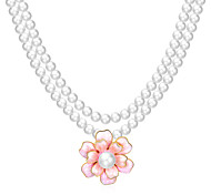 Xu Women 's Personality Flower Fashion Leisure Glass Alloy Necklace