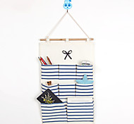 Eight Pockets Behind The Door Navy Style Bowknot Storage Bag