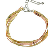Three Layers Braided Metal Chain Link Bracelet