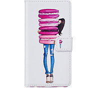 PU Leather Material Cake Girl Pattern Phone Case for Samsung Galaxy S7 Edge/S7/S6 Edge Plus/S6 Edge/S6/S5