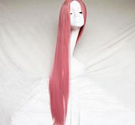 cosplay cor peruca fumaça rosa esculpir um metro de comprimento peruca de cabelo reto
