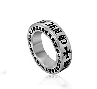 Men's Rings Personality Vintage Rome Secret Letter Silver Band Ring Fashion Jewelry Gift Titanium Steel Ring