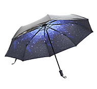 Parasol Super Sun Star Umbrella Black Plastic Umbrella Three Folding Creative Umbrella Uv