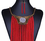 Ожерелье / серьги Мода Сплав Красный Ожерелья Серьги Для Свадьба Для вечеринок Повседневные 1 комплект Свадебные подарки