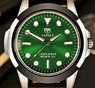 Men's Fashion Quartz Casual Watch PU Belt Big Green Round Alloy Dial Noctilucence Watch Cool Watch Unique Watch