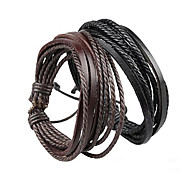 Bracelet Wrap Bracelet Leather Bracelet Adjustable Rope Brown and Black Unisex Cuff Bracelet Bangles Multilayer Wrist Band 1 pc