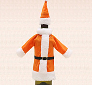 1pc Wine Bottle Bag Cover Orange Santa Suit Clothing Hat Christmas Table Dinner Party Decoration