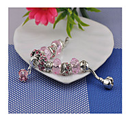 Women's Circle Pink Crystal  Strand Bracelets 1PC