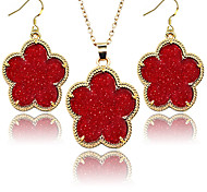 2016 Famous Designer Jewelry for Women Flowers Golden Frame Five Petals Flower Fluorescent 2pcs Jewelry Sets