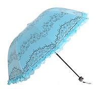 White / Green / Blue / Pink / Purple / Rose Folding Umbrella Sunny and Rainy Textile Lady