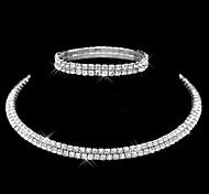 Жен. Набор украшений Классические кольца Браслет Мода Двойной слой бижутерия Искусственный бриллиант Круглый Назначение Свадьба Для
