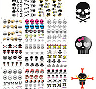 11 Designs Nail Art Halloween Stickers Colorful Skull Image Nail Beauty BLE1192-1202