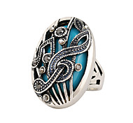 Women's Fashion Diamond Carving Stone And Retro Music Symbol Double  Ladies Ring