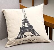 Eiffel Tower Cotton/Linen Pillow Cover