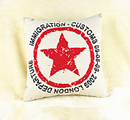 Red Star Cotton/Linen Pillow Cover