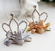 Korean Flower Girl's Fabric Bow Tiaras Hair Clip