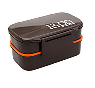 00:00 relógio 2 camadas recipiente bento almoço caixa de plástico 1.4l microondas alimentos forno (cor aleatória)